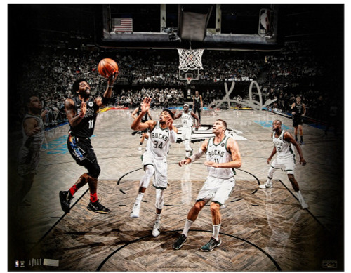 """KYRIE IRVING Autographed Nets """"Escaping Pressure"""" 16"""" x 20"""" Photograph PANINI LE 111"""