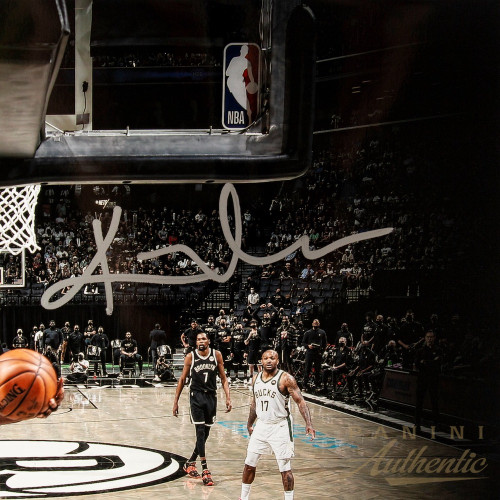 """KYRIE IRVING Autographed Nets """"Hang Time"""" 16"""" x 20"""" Photograph PANINI LE 111"""