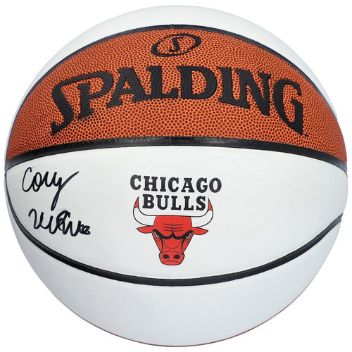 COBY WHITE Autographed Chicago Bulls White Panel Spalding Basketball FANATICS