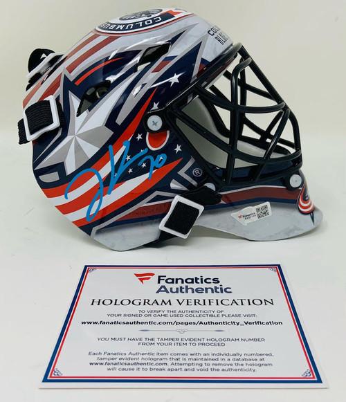 JOONAS KORPISALO Autographed Columbus Blue Jackets Mini Goalie Mask FANATICS