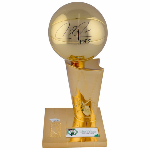 "PAUL PIERCE Autographed ""HOF 21"" Boston Celtics Replica Finals Trophy FANATICS"