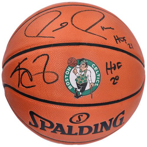 "KEVIN GARNETT / PAUL PIERCE Autographed ""HOF"" Celtics Logo Basketball FANATICS"
