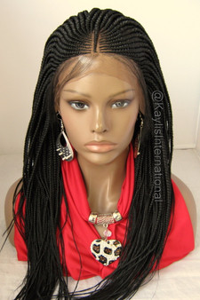 Fully hand braided cornrow lace front wig Steph color #1 in 22""