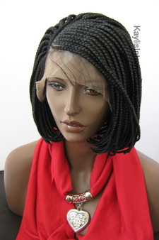 Fully hand braided wig - Short Bob Cornrow  Laura #1 in 6