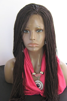 "13"" x 2"" Fully hand braided lace front wig Micro Twists- Hope #99J in 20"""