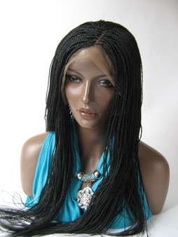 """Hand braided lace front wig Micro Braids-Hannah  Color #1 in 20"""""""