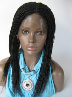 Hand braided lace front wig Micro Braids-Hannah  Color #2 in 14""