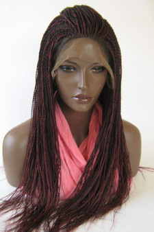 "13"" x 6"" Hand Braided lace front wig Micro Twists- Hope #99J/Burg in 22"""