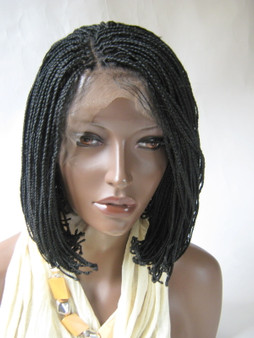 """Fully hand braided lace front wig - Alicia  Short bob color #1 in 6"""""""