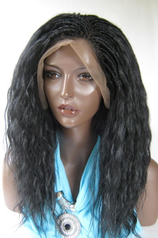 "Fully Hand Braided lace wig Celina Color #1B in 17"" Wet and Wavy"