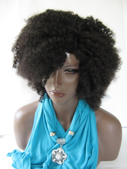 Medium  Afro Kinky Curly  Synthetic Hair Wig Color #1B Black (Synthetic Non lace Wig)