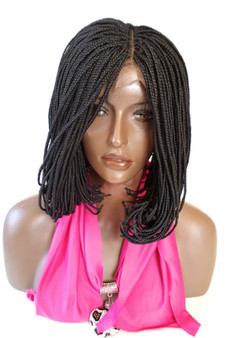"""Fully hand braided lace front wig - A Line  Bob color #1 in 8"""""""