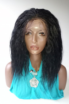 "Fully Hand Braided lace wig Celina Color #1B in 15"" Wet and Wavy"