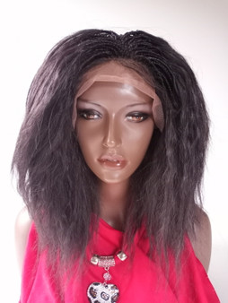 "Fully Hand Braided lace wig Celina Color #4 in 15"" Wet and Wavy"