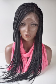 """13 x4  Fully hand braided lace front wig - Anita color #2  in 20"""" Baby Hair"""