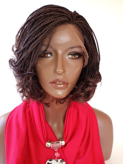 13 x 3 Fully hand braided lace front wig curly  - Linda color 33  in 6""