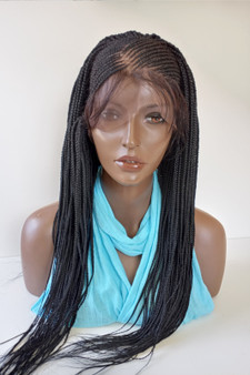 13 x4 Fully hand braided cornrow lace front wig Tania color #1 in 22""