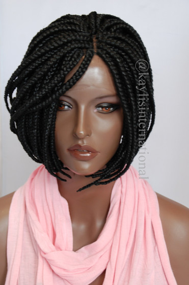 """Fully hand braided lace front wig - Short Bob Annie Color #1 in 6"""""""