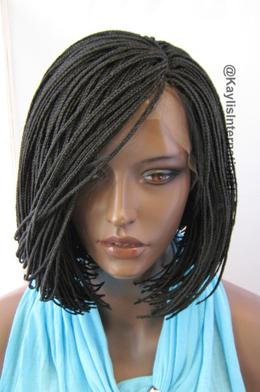 Fully hand braided lace front wig - Alice  Short bob color #1 in 6""
