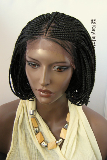 Fully hand braided lace front wig - Short Bob Cornrow Steph #1 in 6""