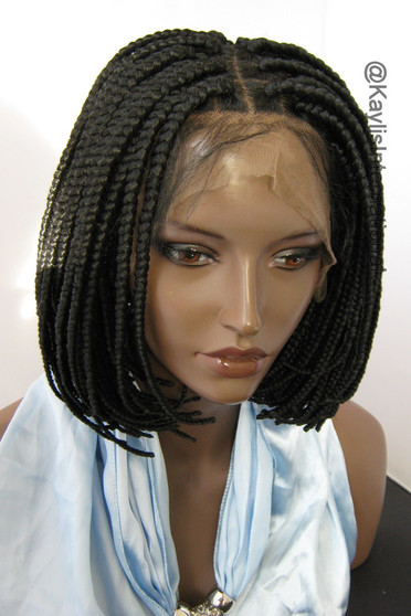 """Fully hand braided lace front wig - Short Bob Annie Color #1 in 8"""""""