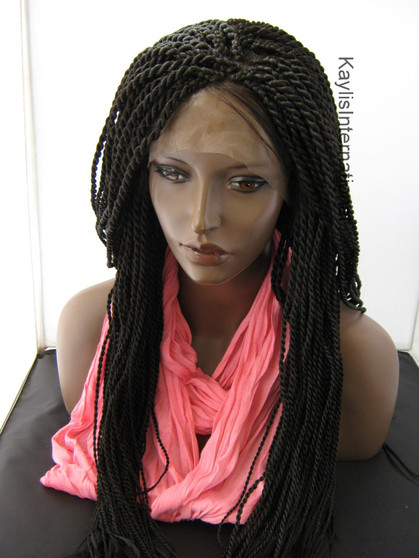 """Fully hand braided lace front wig - Nina color 2 in 22"""" (Medium twists)"""