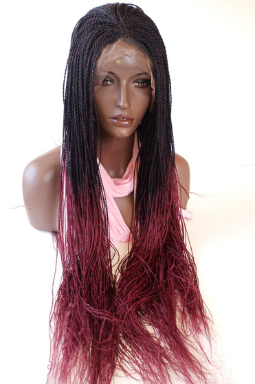 """13"""" x 6"""" Hand Braided lace front wig Micro Twists- Ombre Burg in 25"""""""