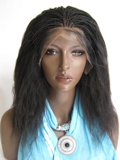 """Fully Hand Braided lace wig Celina Color #2 in 15"""" Wet and Wavy"""