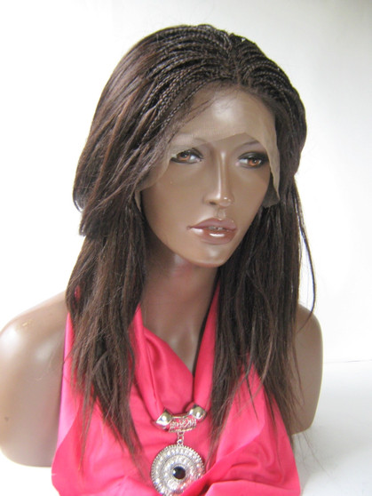 Fully Hand Braided lace front wig Micro- Joyce #4 in 16 inches