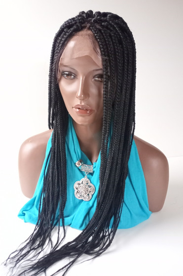 13 x4  Fully hand braided lace front wig - Anita color #1  in 20""