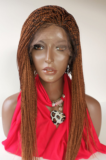 """13 x 3 Hand Braided lace front wig Micro Twists- Hope #30/4 Auburn  in 16"""""""