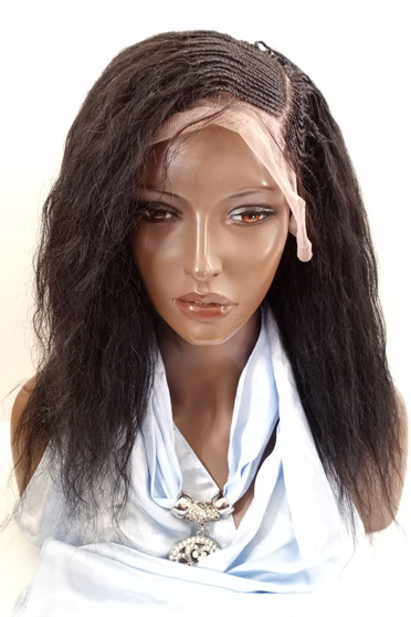 "Fully Hand Braided lace front wig Micro- Judy #2 in 15"" Wet & Wavy"