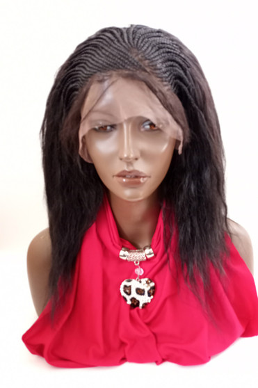 """Fully Hand Braided lace front wig Micro- Justine #2 in 15"""" Wet & Wavy"""