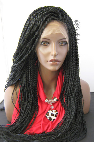 """Fully hand braided lace front wig - Nina color 1 in 22"""" (Medium twists)"""