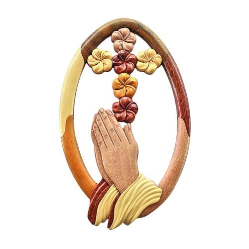 Praying Hands Plumeria Cross