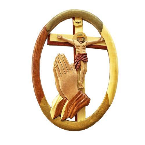 Praying Hands Traditional Crucifix