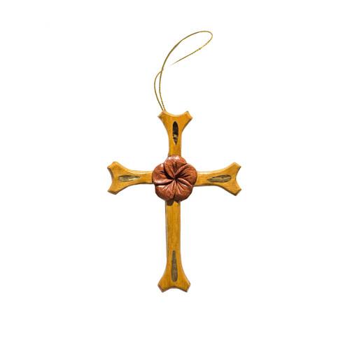 One Plumeria Cross - Ornament