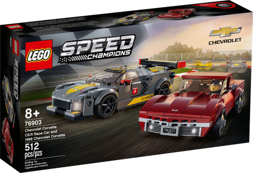 LEGO 76903 Speed Champions Chevrolet Corvette C8.R Race Car and 1968 Chevrolet Corvette