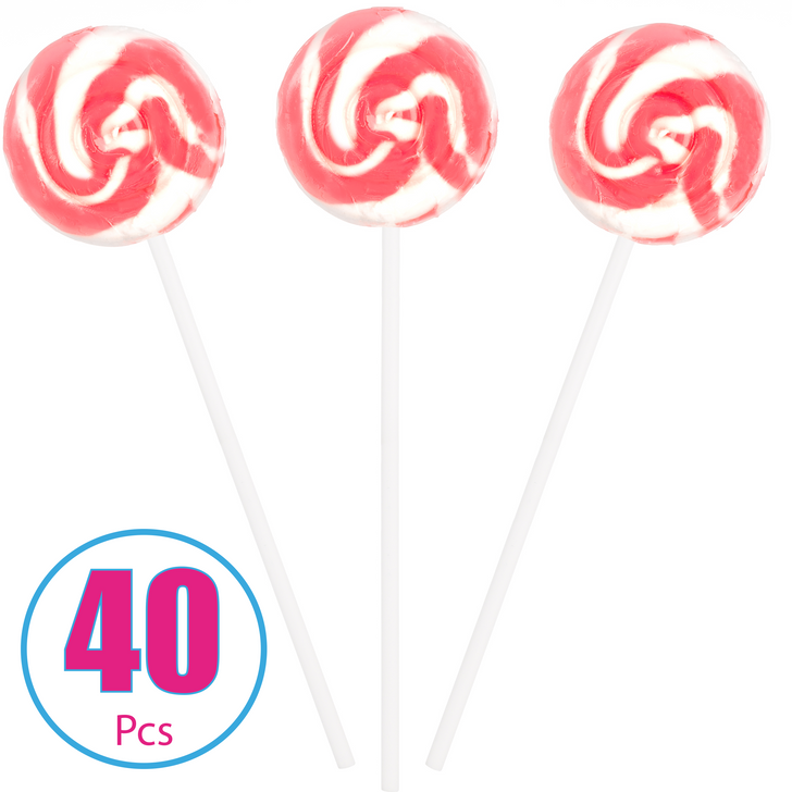 Pink and White Strawberry Swirl Pop - 40  Pieces