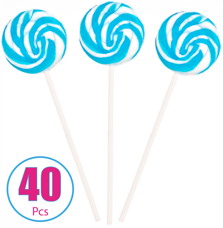 Blue and White Blueberry Swirl Pops - 40 Pieces