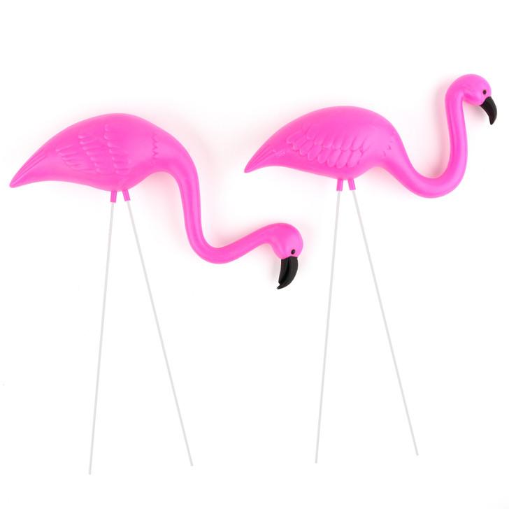 Mini Pink Flamingo Lawn Ornament Set