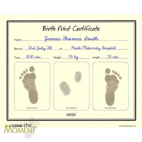 Save The Moment Inkless Birth Print Certificate with Parents Fingerprints