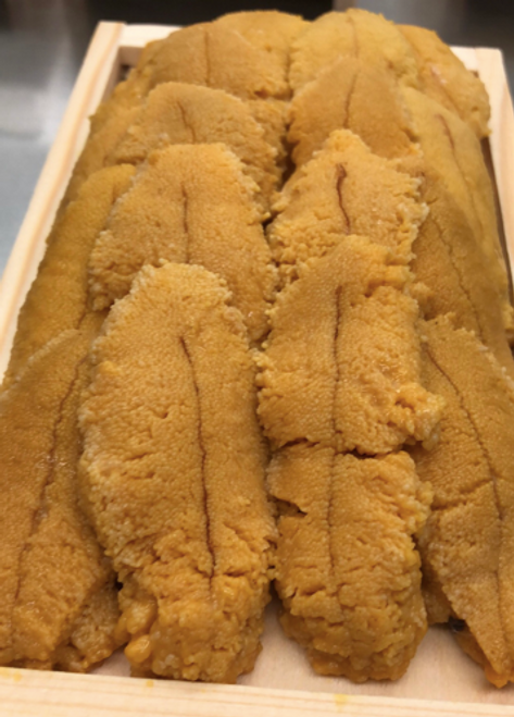 Locally harvested tray of sea urchin roe. Save your self the hassle of opening and cleaning an Urchin.