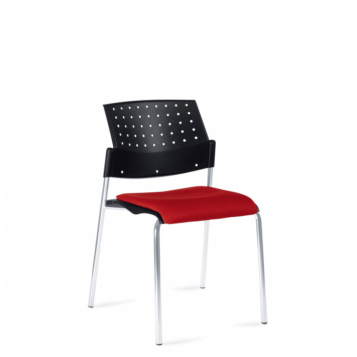 Sonic™Armless Stacking Chair, Upholstered Seat & Polypropylene Back (6509)