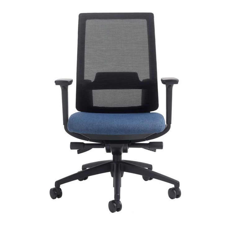 Icon Q2 Mesh Back Indigo Seat Office Chair Black Frame, front view