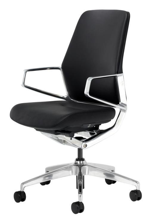 Icon L2 Executive Leather Mid-Back Office Chair. Top Grain Leather & Polished