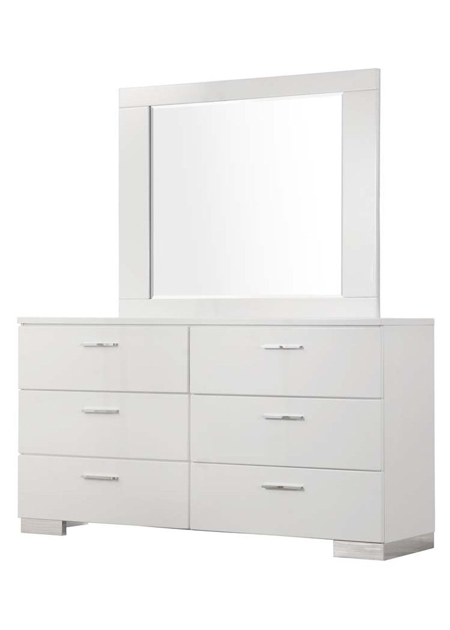 The Felicity Glossy White Dresser Mirror Available At Cupp S Furniture Proudly Serving Elkins Wv