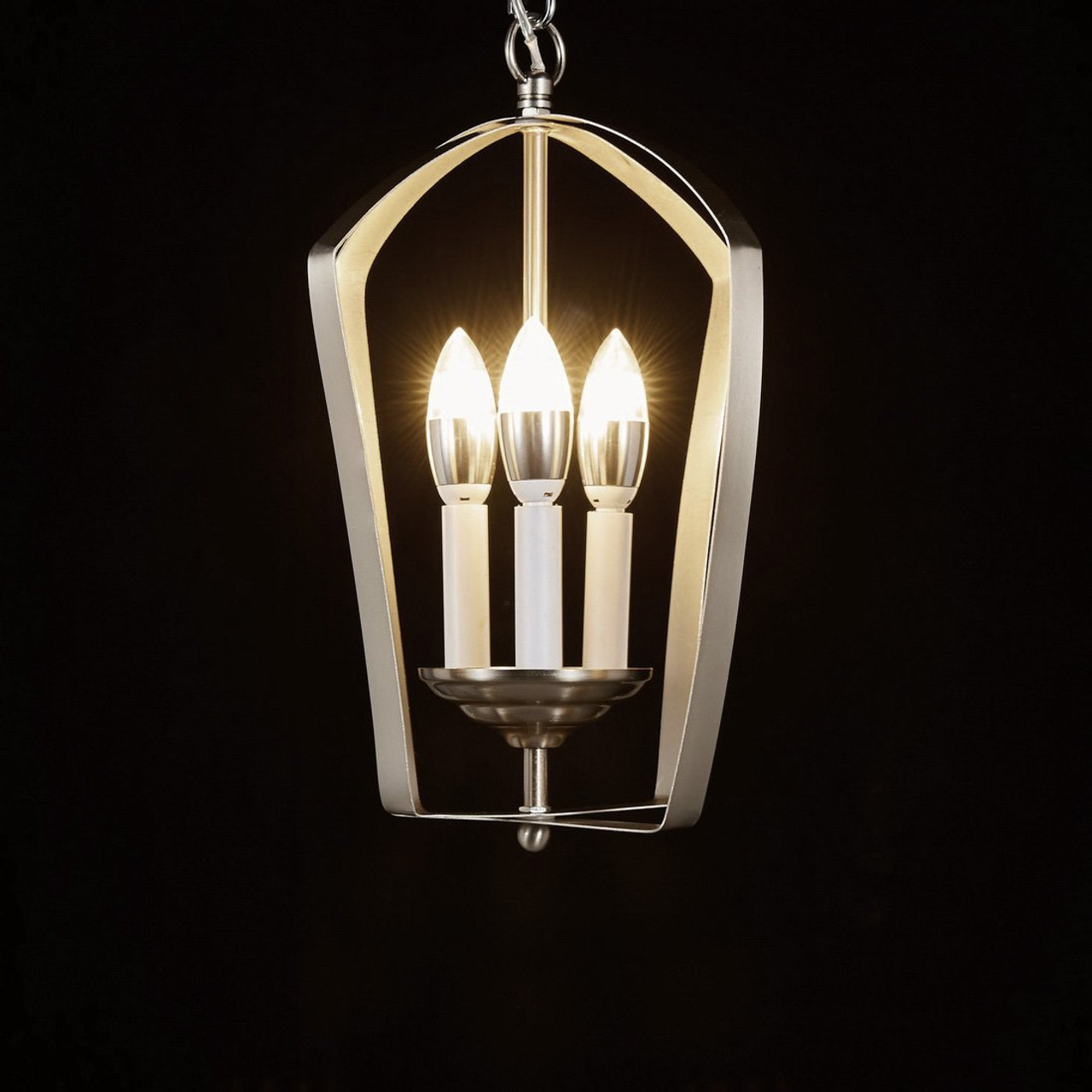 Diamond Life Chrome Finish 3 Light Hanging Lantern Iron Frame Pedant Chandelier Diamond Life Lighting