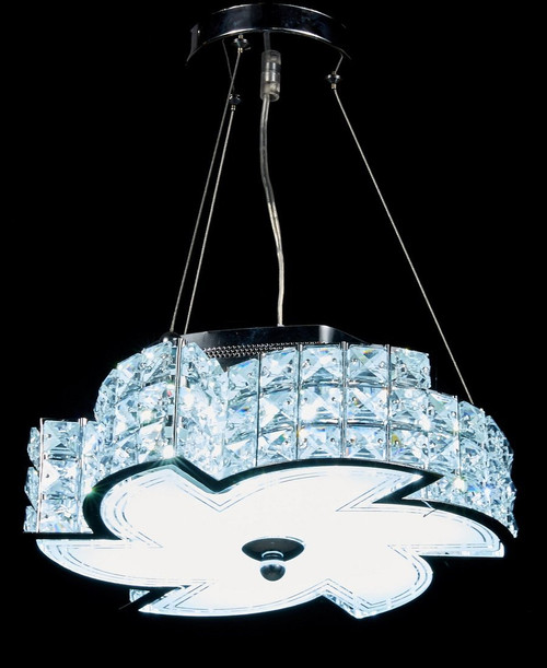 Diamond Life Modern LED Crystal Chandelier Pendant Hanging or Flush Mount Ceiling Lighting Fixture, 3 light colors in one Smart Lamp, #506 by Diamond Life