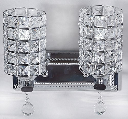 """Diamond Life 2-Light Chrome Finish Wall Sconce Lights Chandelier Wall Lamp with Crystal Shade W11""""xH8"""", #1059 by Diamond Life"""